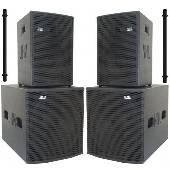 Kit Caixa Amplificada Ativo 12 Ti Sub 18 Compact 2600w 4 Cxs