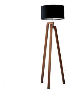 Lampara De Piso Tripie De Madera Nordica Diseño Minimalista