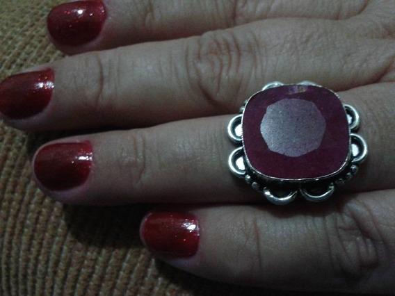 Anel Prata 925 Pedra Vermelha Rubí Natural Indiano Aro 18