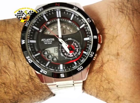 Relógio Masculino Original Prateado Atlantis A3303 Vermelho