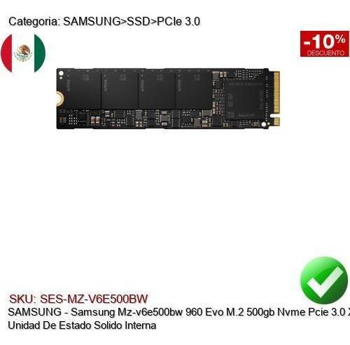 Samsung Mz-v6e500bw 960 Evo M.2 500gb Nvme Pcie X4 Ssd