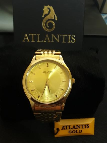 Relogio Unissex Atlantis G3509 Dourado Fundo Dourado
