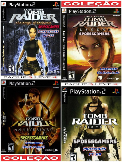 Tomb Raider Ps2 Coleção (4 Dvds) Pt-br Patch Pague 3 .