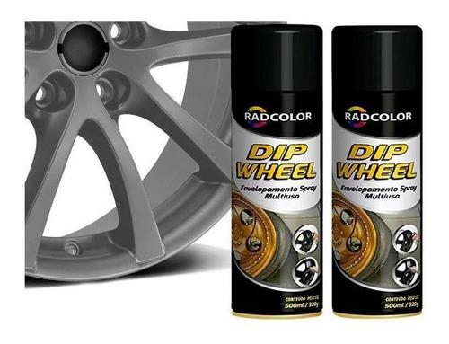 Tinta Spray Envelopamento Liquido Dipwheel 500ml 2un Grafite