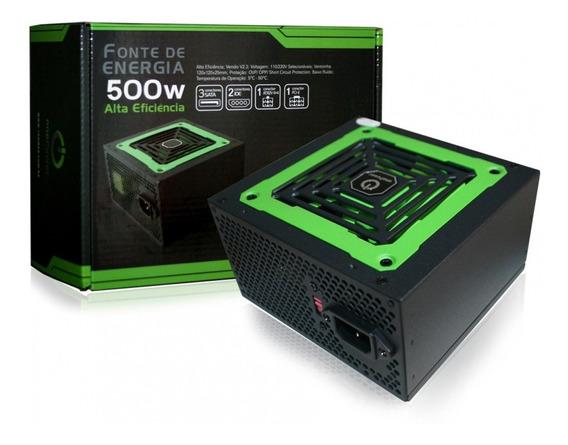 Fonte Atx Real 500w Gamer Pc Ventoinha Verde