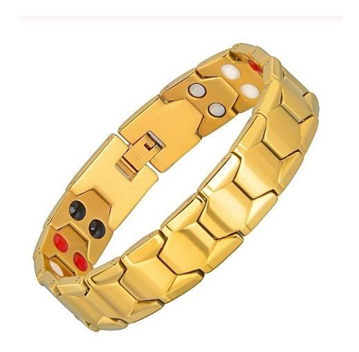 Pulseira Bracelet Magnetica Masculina Banhada Ouro Fir