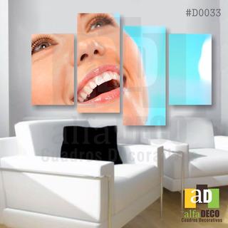 Cuadro Decorativo 4pzs Dentistas #d0033 Alfadeco