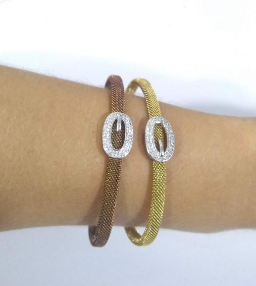 Bracelete Pulseira Feminina Em Aço Inox /zircônia Tendência