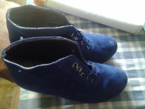 Botas De Dama De Gamuza Color Azul