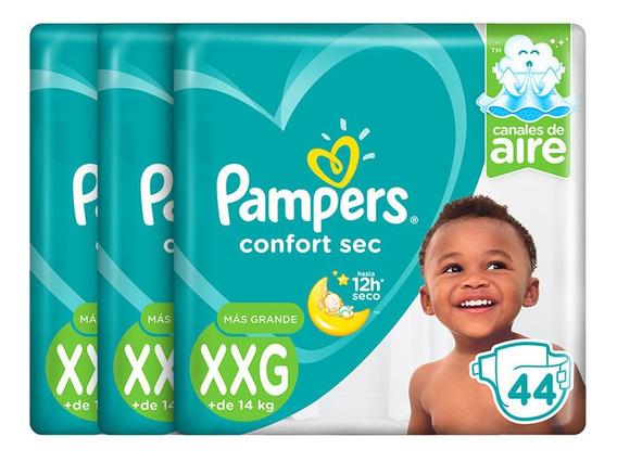 Pack X 3 Pampers Confort Sec Talla Xxg De 44 Unidades