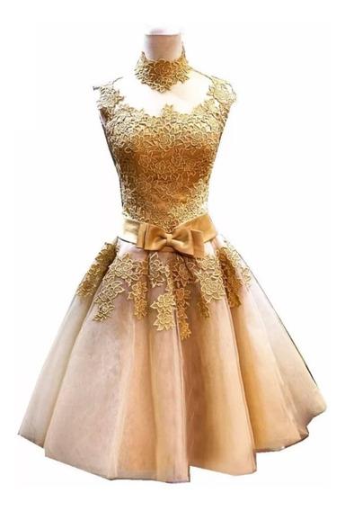Vestido De Fiesta Dorado Envío Gratis C-18041101