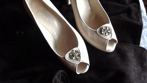Zapatos Cuero Con Plataforma Color Crema Lujo 39