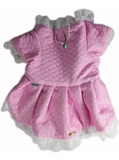 Roupa De Cachorro/ Gato Para O Frio Vestido Inverno Rosa