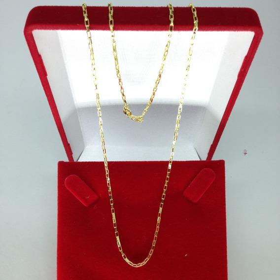 Corrente Veneziana Longa Cadeado Banhado A Ouro 60cm