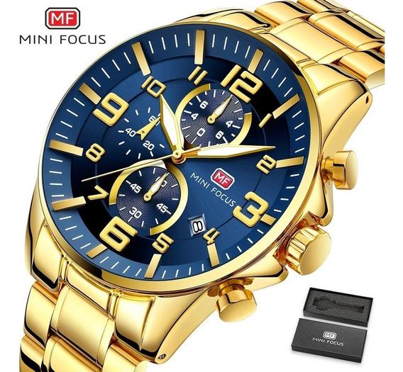 Relógio Masculino Mini Focus 9163 Aço Inoxidável Luxuoso