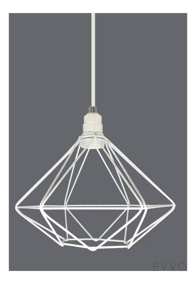 Luminária Pendente Diamante Aramado Branco