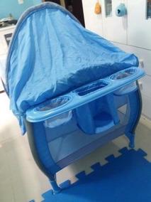 Berço Desmontável Burigotto Nanna 5029 Até 10kg Blue Check