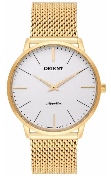 Relógio Orient Masculino Slim Mgsss005 S1kx Safira Dourado