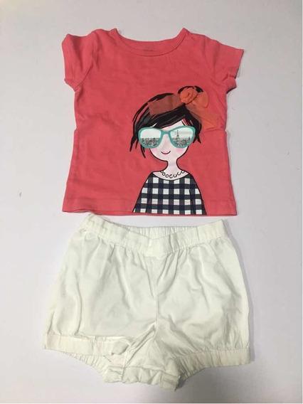 Conjunto Infantil Camiseta E Shorts Carters 18 Meses Menina