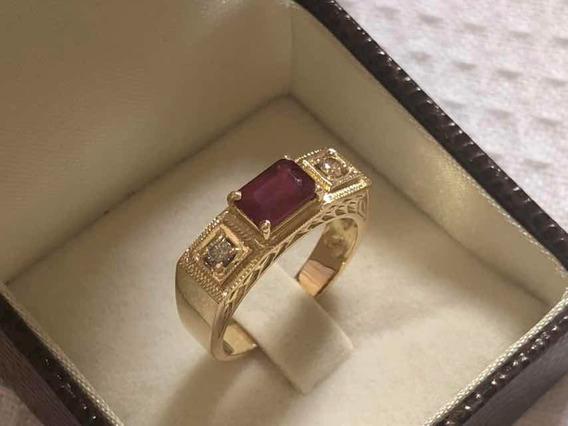 Anel Ouro 18k Formatura Rubi Natural E Diamantes