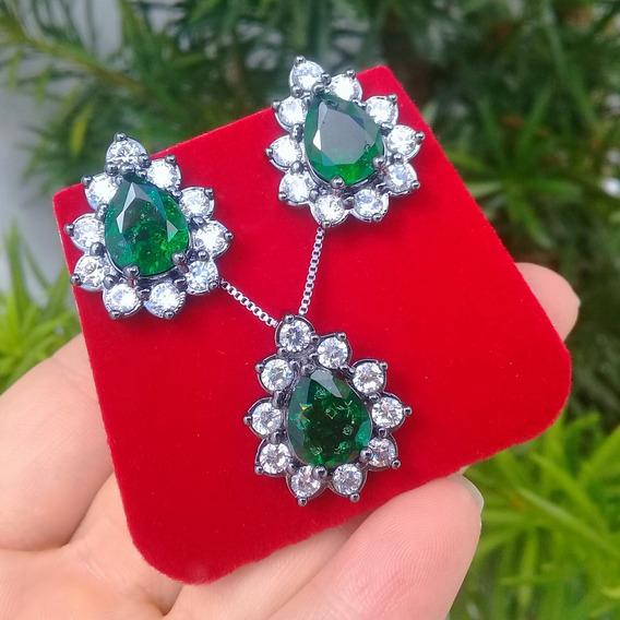 Conjunto Colar E Brincos Gota Pedra Fusion Verde Esmeralda