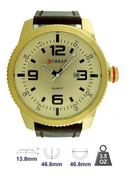 Relógio Original Masculino Analógico Curren Marrom Dourado.