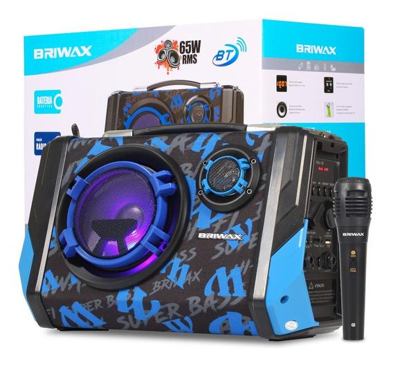 Caixa De Som Maleta Bluetooth 65w Rms Led E Microfone Usb