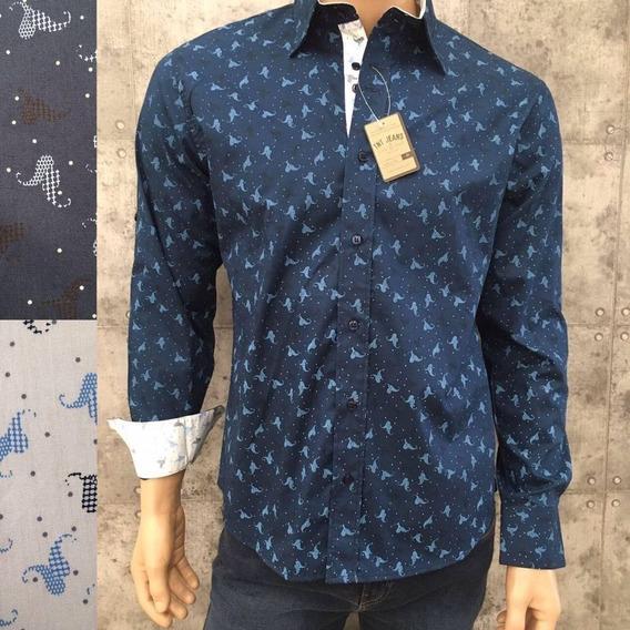 Camisa Manga Larga Tnt Azul Figuras