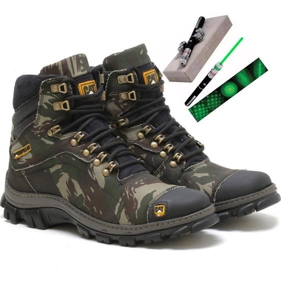 Bota Coturno Cat Caterpillar Camuflada Militar + Liser Verde