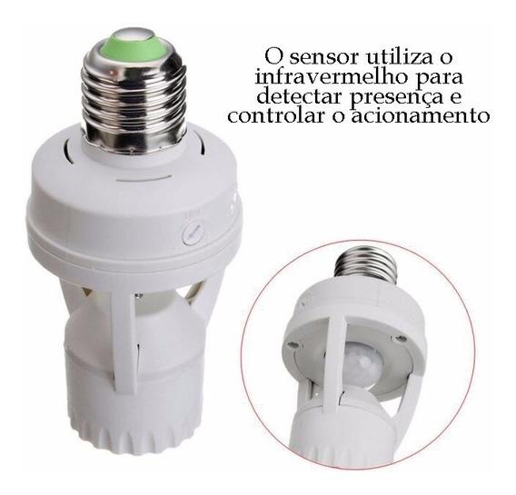 5 Sensores Presença C/ Fotocélula P/ Lâmpada Soquete E27