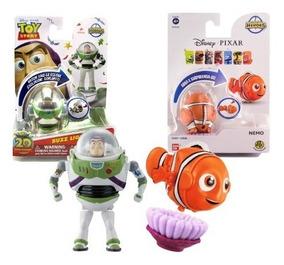 2pçs Bonecos Disney Bandai Hatch Heroes Nemo + Buzz Toystory
