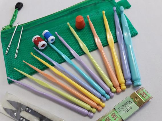 Set Agujas Plásticas Crochet X 12 + Accesorios + Estuche