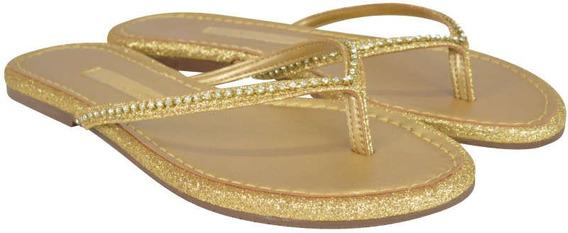 Rasteira Gliter Ouro - Frete Gratuito