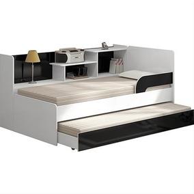 Bi-cama Multimóveis 0735 Branco Brilho/preto Brilho