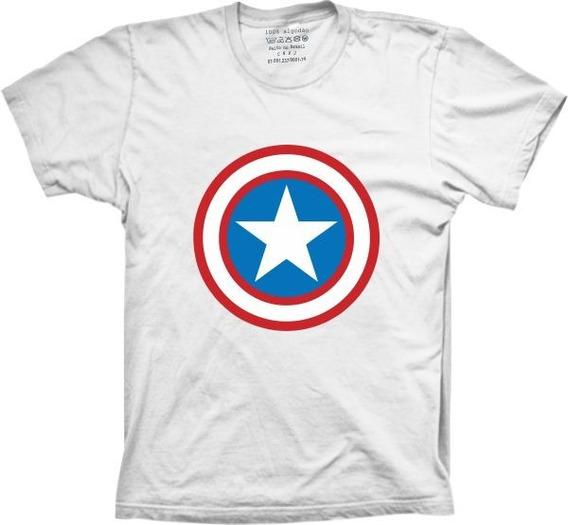 Camiseta 5%off Silk Super Herói Capitão América