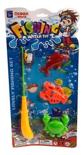 Juego Set Pesca Infantil Juguete Caña Peces 28 Cm