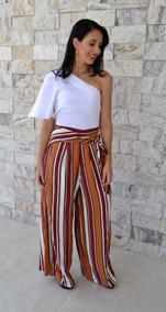 Calça Pantalona De Listra Blogueira Tendencia