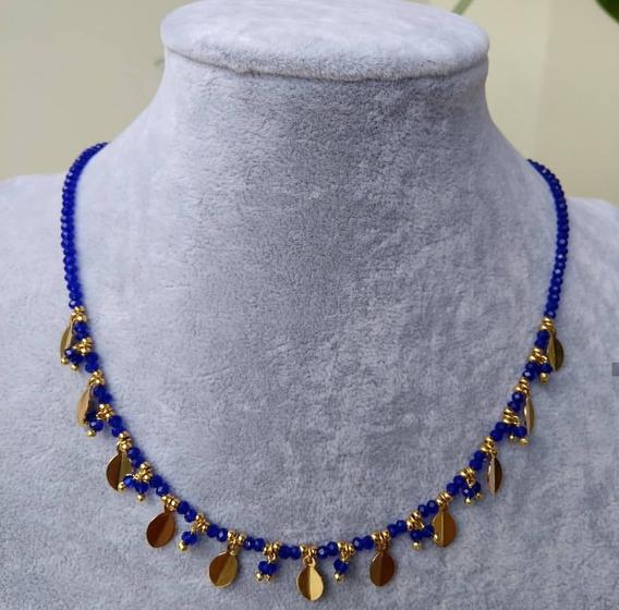 Colar Em Cristal Azul Com Folinhas Douradas Semi Joias