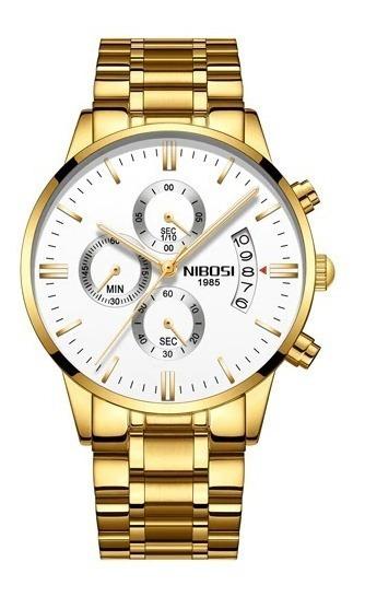 Relógio Masculino Nibosi 2309-1-2 Original Dourado