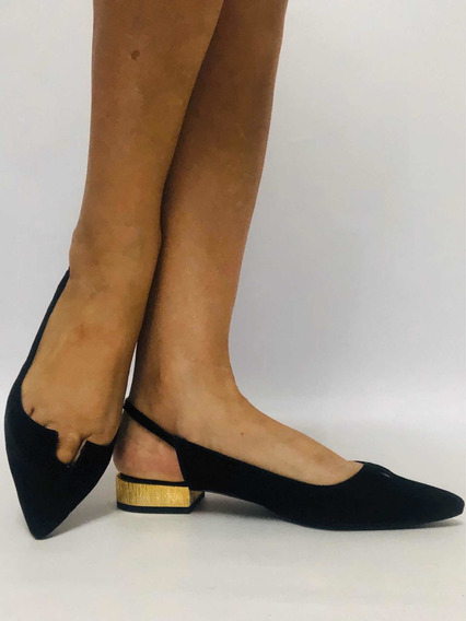 Zapatos Mujer Nro 36 Zara Elegante Taco Bajo Dorado Sin Caja
