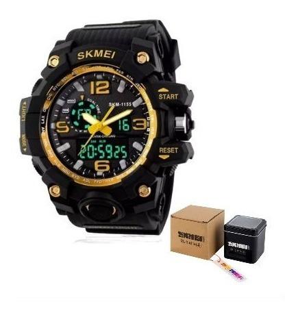 Relógio Sport Militar Skmey Schok 1155 Original Na Lata
