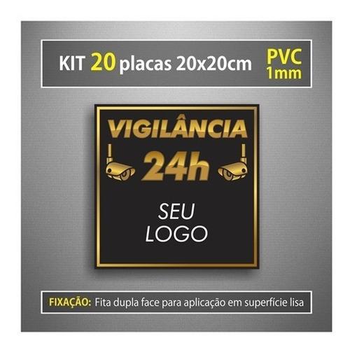 20 Placas Monitoramento Câmera Segurança 24 Horas Personaliz