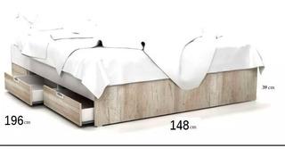 Cama Sommier Box 2 Plazas Ziana 1.40 4 Cajones Envio Nuevo