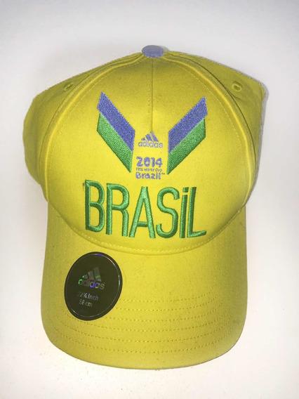 Gorra Brasil Amarilla - Nueva - Marca adidas - Mundial 2014
