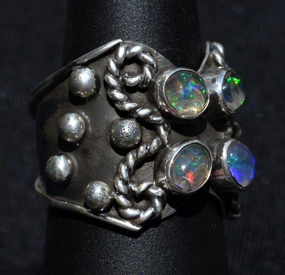 Anillo Plata Ley Oxidada 925 & 4 Opalos Multicolores Natural