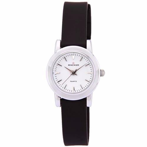 Relógio Backer 4303121 Branco Pulseira Resina Preta