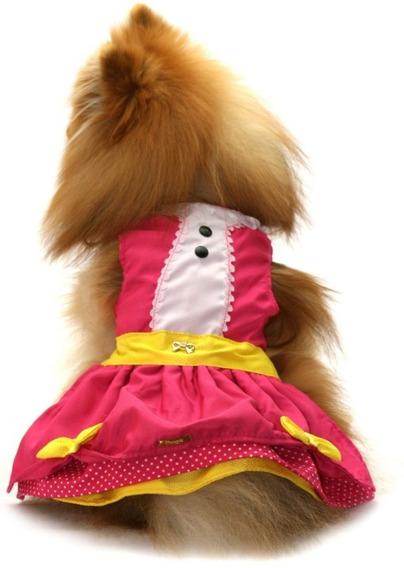 Vestido Para Cachorro/ Gato Rosa E Amarelo Com Pingente