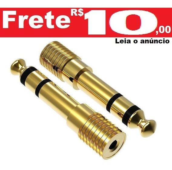 Plug Adaptador P2 Para P10 Estéreo Conector Fone Dourado
