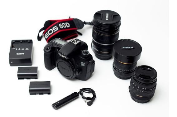 Canon 60d Kit / 3 Lentes, Disparador, Baterias E Carregador
