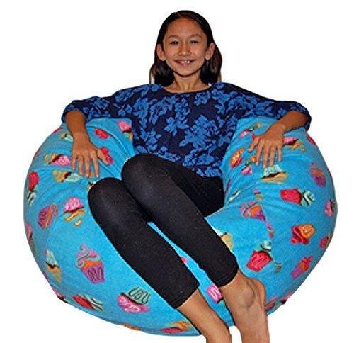 Ahh! Productos Cupcakes Fleece Lavable Bean Bag Chair, Grand